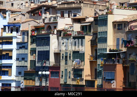 colorful houses in Girona  Catalonia Spain - Stock Photo