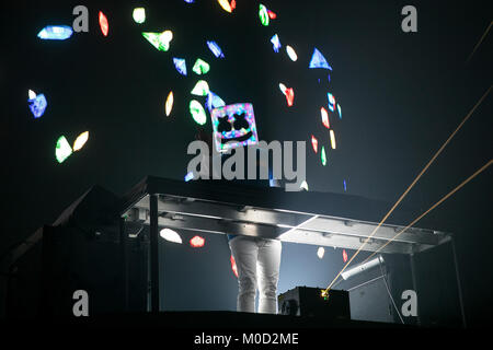 USA. 13th Jan, 2018. Marshmello performs on January 13, 2018 at the Bill Graham Civic Auditorium in San Francisco, - Stock Photo