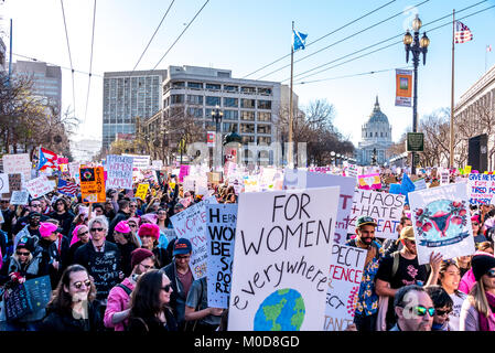 San Francisco, California, USA. 20th January, 2018. The 2018 Women's March in San Francisco, organized by Women's - Stock Photo