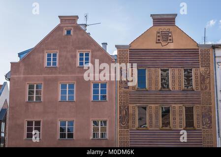 Tenement houses on the Old Town market square in Olsztyn city in Warmian-Masurian Voivodeship of Poland - Stock Photo