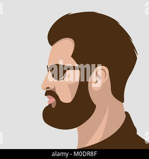 hipster glasses vector illustration flat style profile view - Stock Photo
