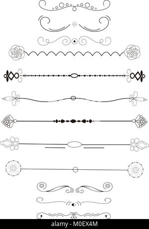 Ornate frame elements. Vintage and filigree decoration. Ornament frames and scroll swirls element. Filigree divider - Stock Photo