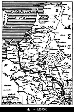 WWI - A 1917 map showing military activity in the 1914-1918 First World War - The Western Battle lines, France & - Stock Photo