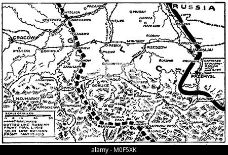 WWI - A 1917 map showing military activity in the 1914-1918 First World War -Gallician Campaign - - Stock Photo