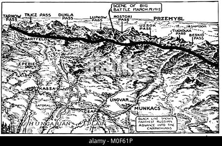 WWI - A 1917 map showing military activity in the 1914-1918 First World War -   Italian attack on Austria & Russian - Stock Photo
