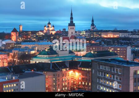 Aerial view old town at sunset, Tallinn, Estonia - Stock Photo