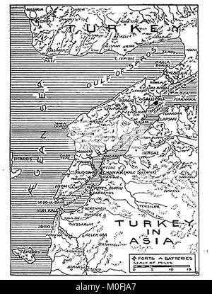 WWI - A 1917 map showing military activity in the 1914-1918 First World War - Stock Photo