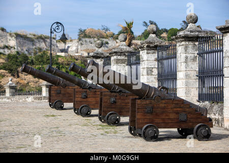 Cannons at the Castle of the Royal Force in Havana, Cuba - Stock Photo