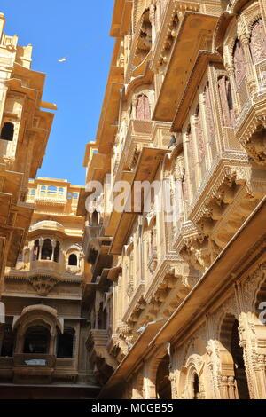 The architectural details of Patwa ki Haveli in Jaisalmer, Rajasthan, India - Stock Photo