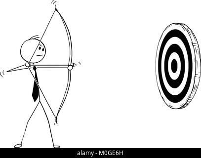 Conceptual Cartoon of Businessman with Bow Shooting at Target - Stock Photo