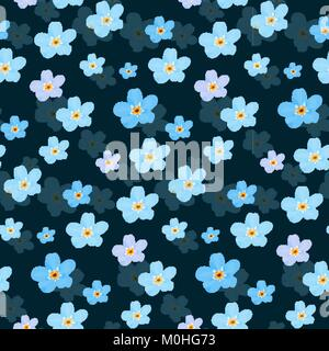 Vector floral seamless pattern. Illustration of little cute colored flowers. Blue and violet florets on the dark - Stock Photo
