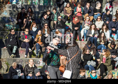 A singer performs in Mauer Park, Prenzlauer Berg, Berlin. - Stock Photo
