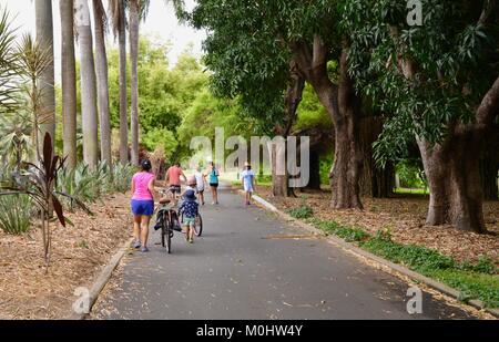 Pedestrians walk on a road through Anderson Park Botanic Gardens, Townsville, Queensland, Australia - Stock Photo