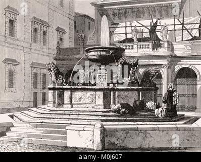 Fontana in Piazza Santa Maria in Trastevere, Rome, Italy, 19th Century - Stock Photo