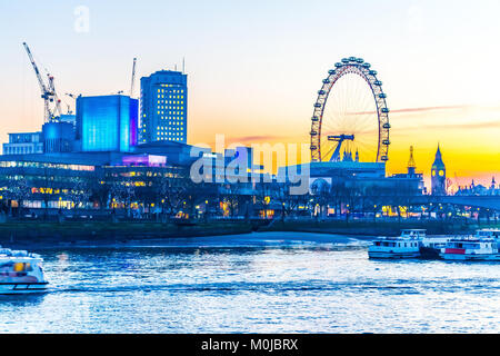 London Eye, Millennium Wheel, Embankment. - Stock Photo