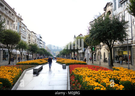 The city center of Braga, capital of Minho in the north region of Portugal has beautiful and always well preserved - Stock Photo