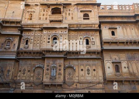 The ornate Patwon Ki Haveli in Jaisalmer, Rajasthan, India - Stock Photo