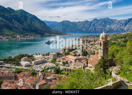 Classic panorama view of the historic Church of Our Lady of Remedy overlooking the old town of Kotor and world-famous - Stock Photo
