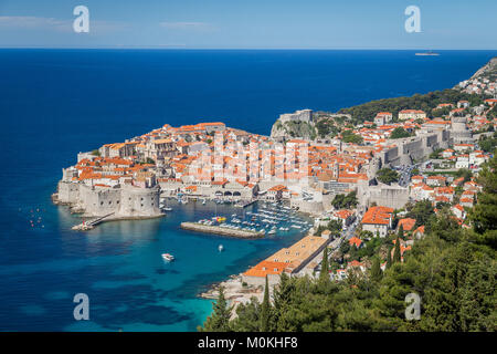 Panoramic view of the historic city of Dubrovnik, one of the most famous tourist destinations in the Mediterranean - Stock Photo