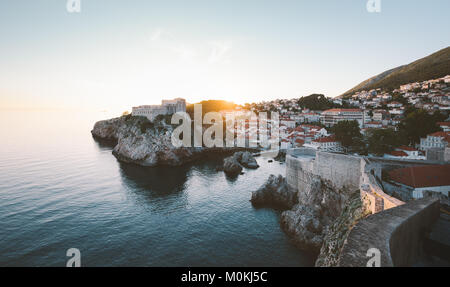 Panoramic view of the historic town of Dubrovnik, one of the most famous tourist destinations in the Mediterranean - Stock Photo
