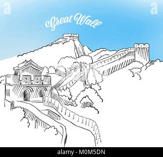 Sketch of Great Wall in China. Hand drawn vector illustration with modern Headline. Use for greeting card and travel - Stock Photo