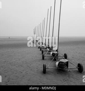 Sandyachts on the beach of Malo-les-Bains, Dunkirk, Nord, France - Stock Photo