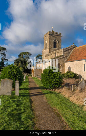 The  church of St Mary The Virgin on the outskirts of the village of Carlton, Bedfordshire, UK; it dates from 12th - Stock Photo