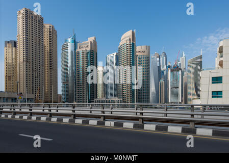 View of Dubai Marina, an affluent residential neighbourhood in Dubai, UAE, United Arab Emirates - Stock Photo