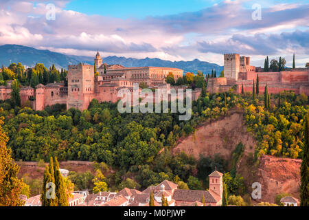 Alhambra at sunset in Granada, Andalusia, Spain - Stock Photo