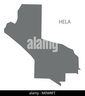 Hela map of Papua New Guinea grey illustration silhouette shape - Stock Photo