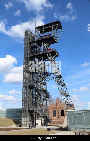 Katowice, Poland - retro industrial coal mine shaft tower. Upper Silesia region. - Stock Photo