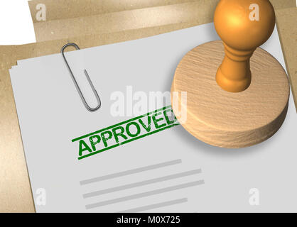 3D illustration of APPROVED stamp title on business document or contract - Stock Photo