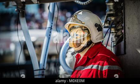 Pit Lane Fireman (Pompier) during the 2017 24 Hours Le Mans race at Circuit de la Sarthe on Saturday 17 June 2017. - Stock Photo