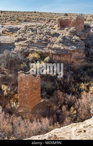 Hovenweep National Monument, Utah - The Square Tower, part of the Anasazi ruins situated around Little Ruin Canyon. - Stock Photo