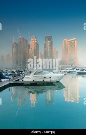 View of skyscrapers in the affluent Dubai Marina area of the city - Stock Photo