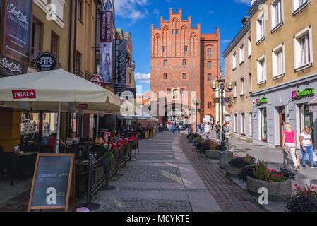 XIV century city gate called Upper Gate or High Gate in Olsztyn in Warmian-Masurian Voivodeship of Poland, view - Stock Photo