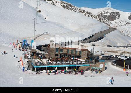 A view down towards a restaurant and bar named Costa Rodona on the mountain in Pas de las Casa, Grandvalaria ski - Stock Photo