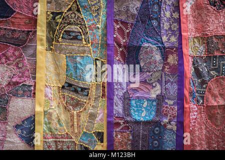 Textiles at the Fort Market, Jaisalmer, Rajasthan - Stock Photo