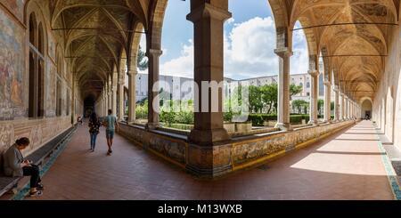 Italy, Campania, Naples, historic centre listed as World Heritage by UNESCO, Santa Chiara basilica, the cloister - Stock Photo