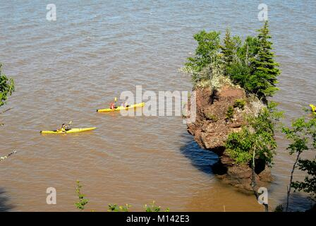 Canada, New Brunswick, Bay of Fundy, Hopewell Rocks, Highest Tides in the World, Sea Kayaking - Stock Photo