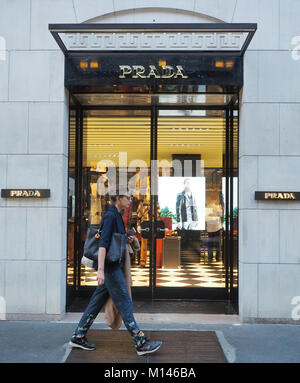 Italy,Lombardy,Milan,Via Montenapoleone,Prada fashion shop - Stock Photo