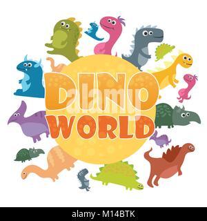 Dinosaurs world poster. Vector cartoon dinosaurs - Stock Photo