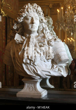 Marble bust of Louis XIV Antoine Coysevox in the King's Chamber, 1679, Versailles Palace, Ile-De-France, France. - Stock Photo