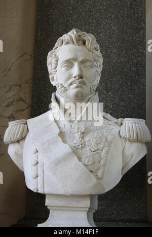 Marble bust of Marshal of the French Empire Prince Joseph Antoine Poniatowski Francois-Augustin Caunois in the Gallery - Stock Photo