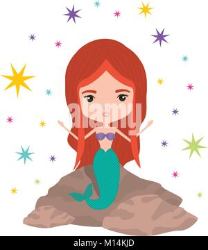 mermaid in a rock with colorful sparkles and stars on white background - Stock Photo