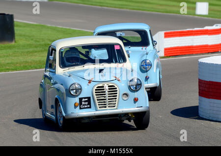 1958 Austin A35 owned by Peter James racing in the St Mary's Trophy at the Goodwood Revival - Stock Photo