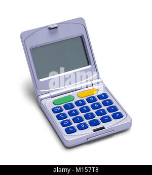 Flip Open Calculator Isolated on a White Background. - Stock Photo