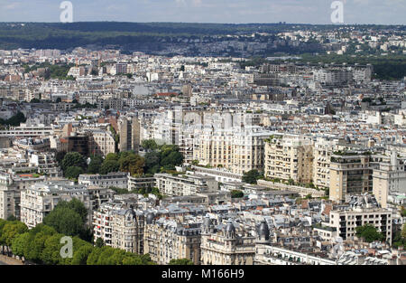 View of Paris West of the Eiffel Tower, France. - Stock Photo