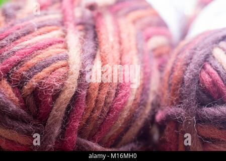 macro of multicolored wool yarn in skein - Stock Photo
