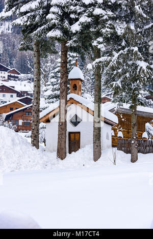 Small church in the snow - Stock Photo